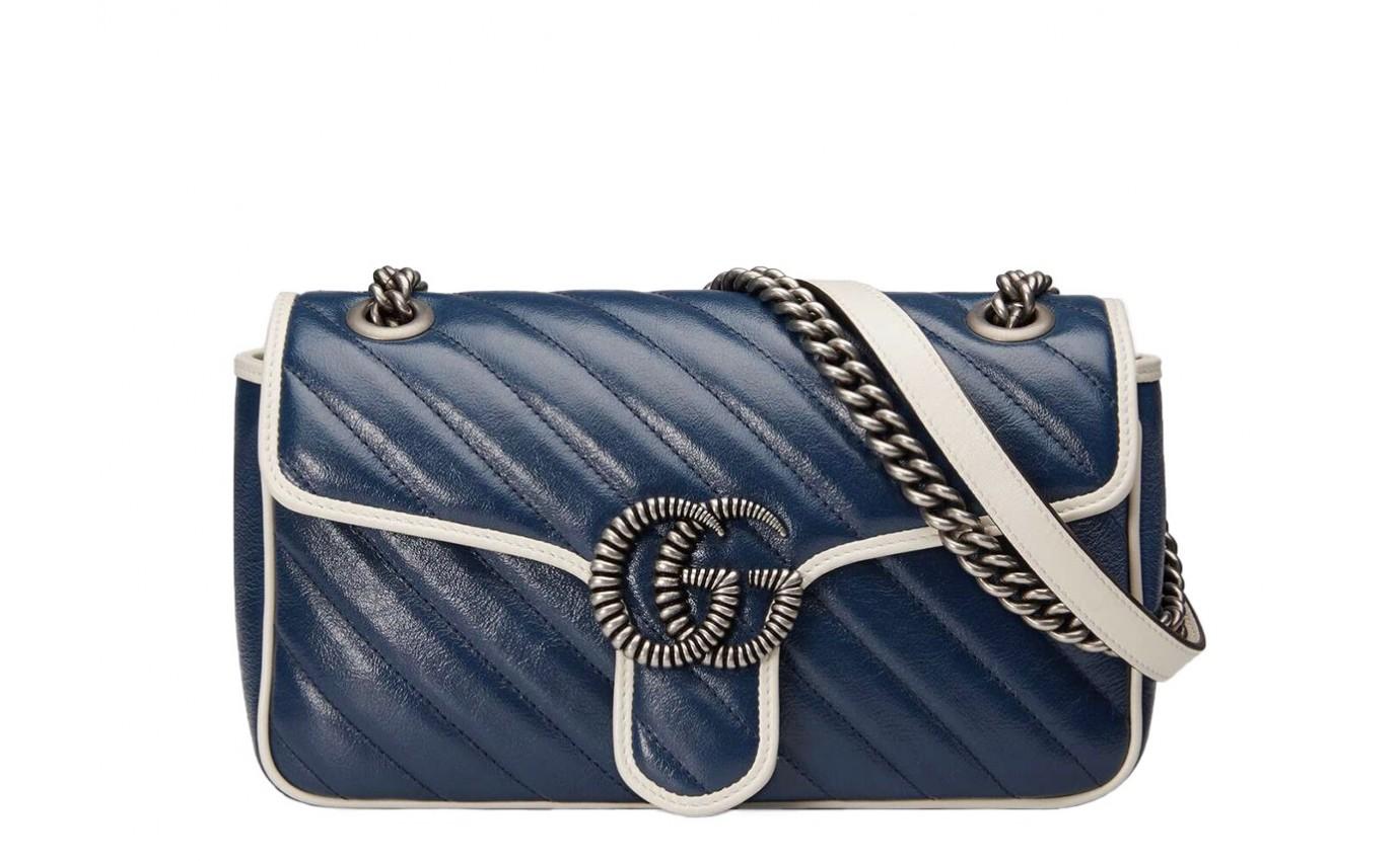 Sac GUCCI GG MARMONT cuir bleu logo GG