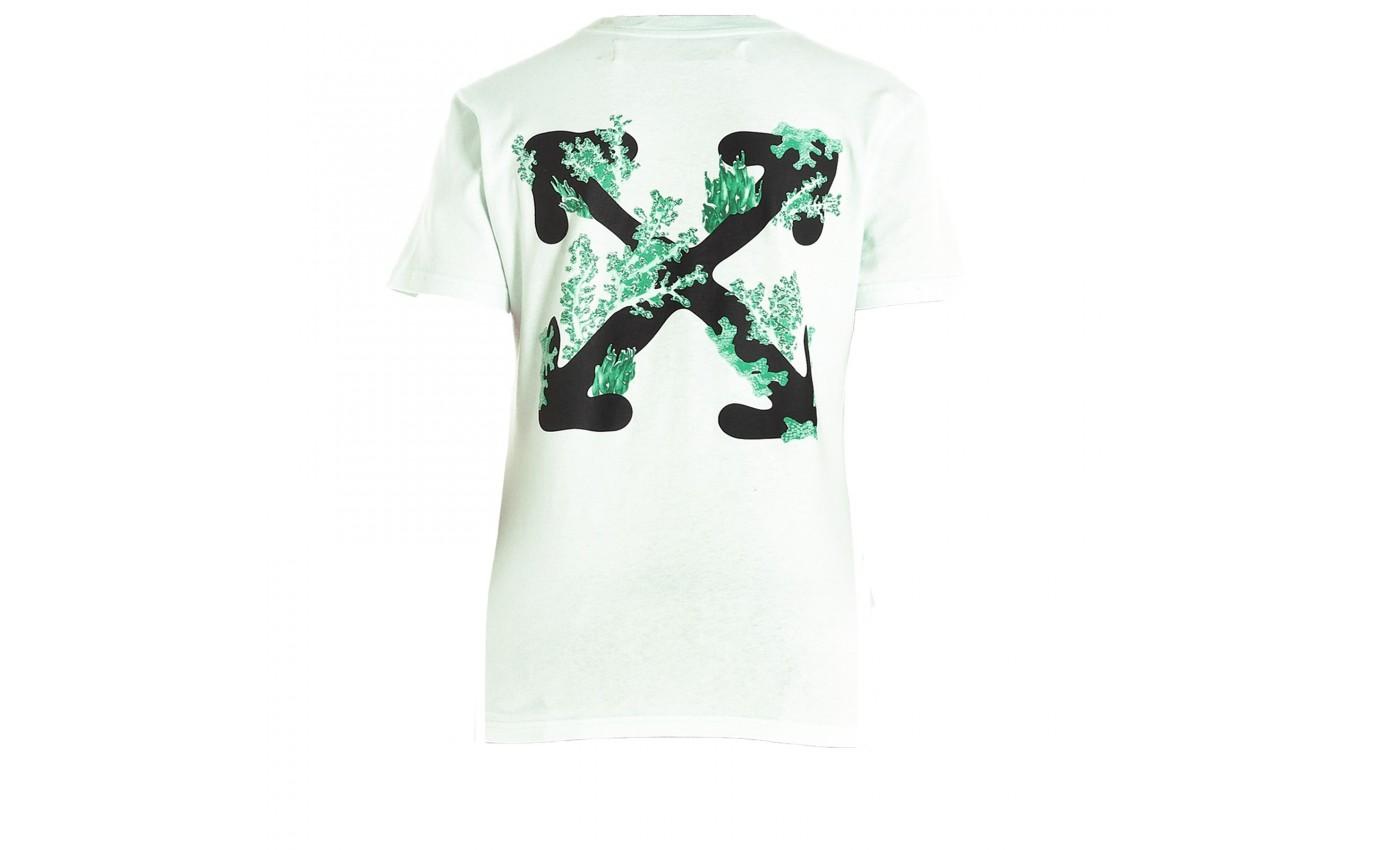 Tee Shirt OFF WHITE CORAL Blanc Vert Logo Off White