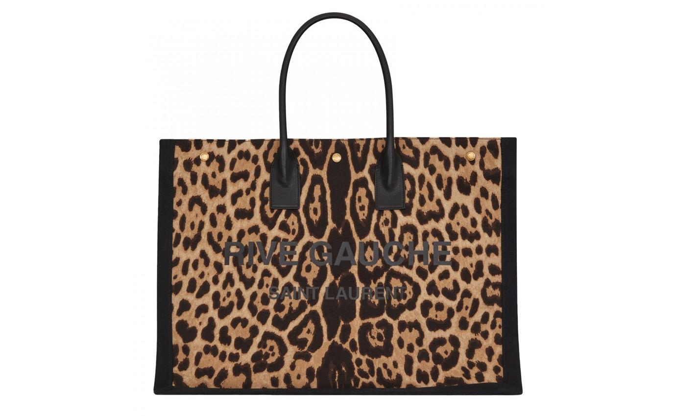 Sac cabas imprimé léopard Saint Laurent Rive gauche femme
