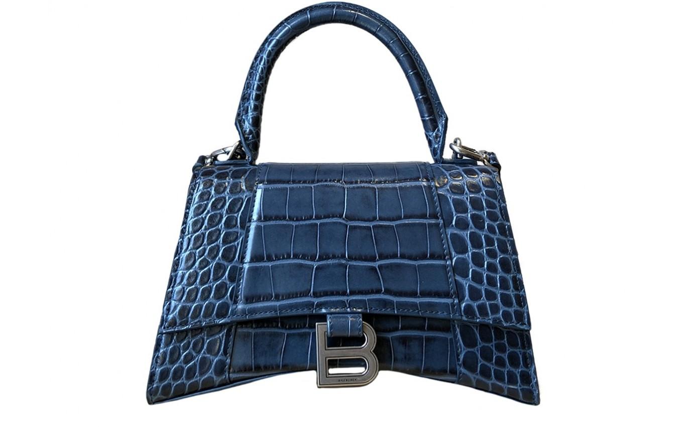 Sac Femme Balenciaga Hourglass petit modèle bleu croco