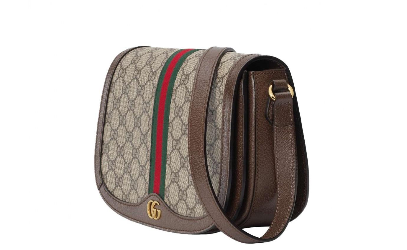 Bandoulière Sac de luxe Femme Gucci besace Ophidia en toile GG avec galon vert et rouge