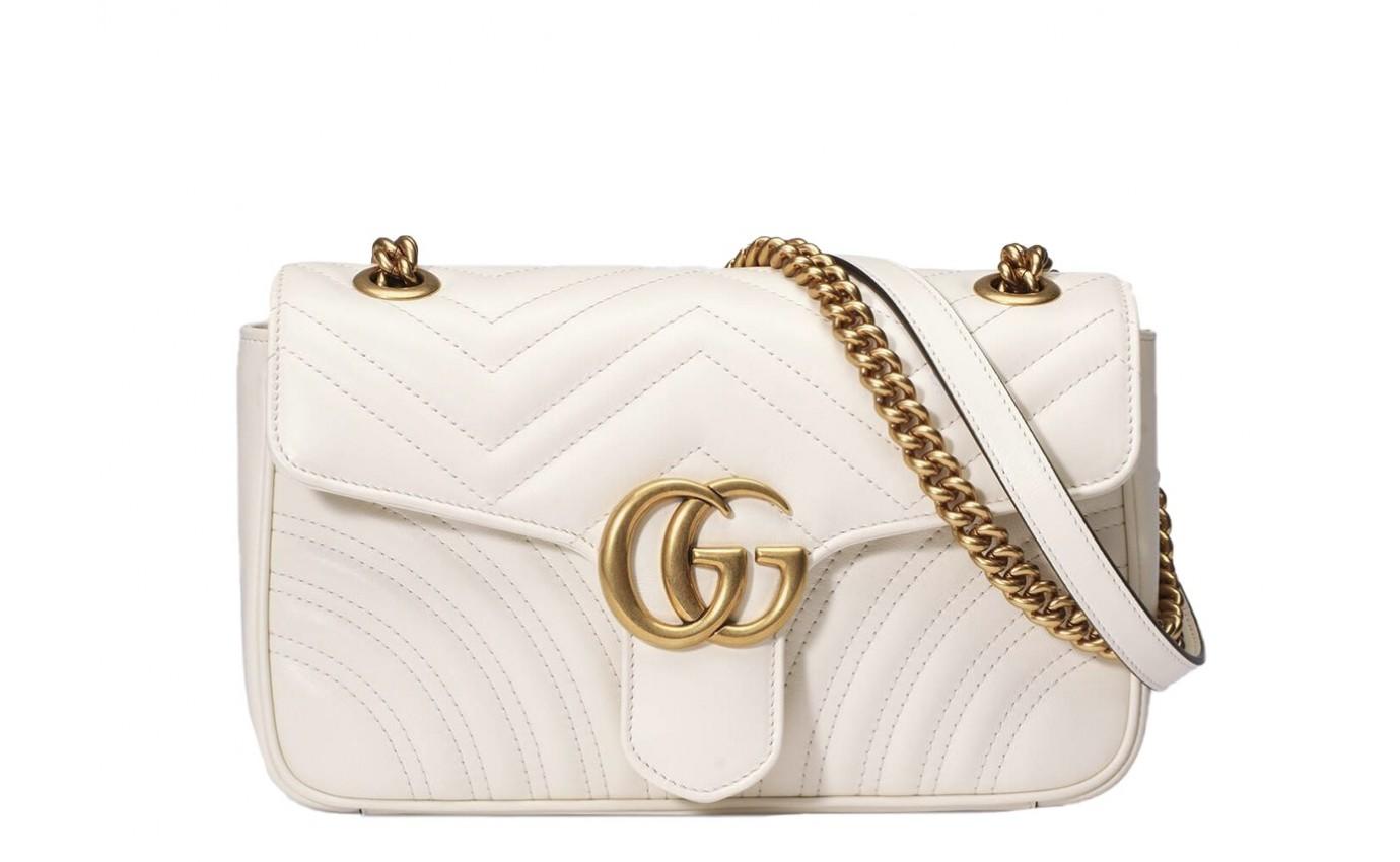 Sac de luxe Gucci GG Marmont small en cuir matelassé ivoire