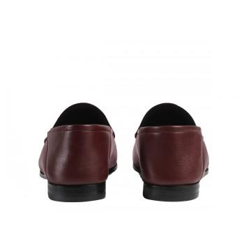 Contrefort Chaussure de luxe Gucci Mocassin Brixton en cuir bordeaux