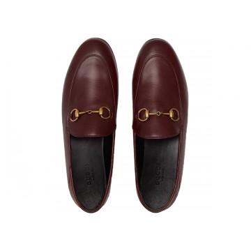 Vue de haut Chaussure de luxe Gucci Mocassin Brixton en cuir bordeaux