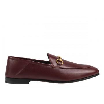Chaussure de luxe Gucci Mocassin Brixton en cuir bordeaux