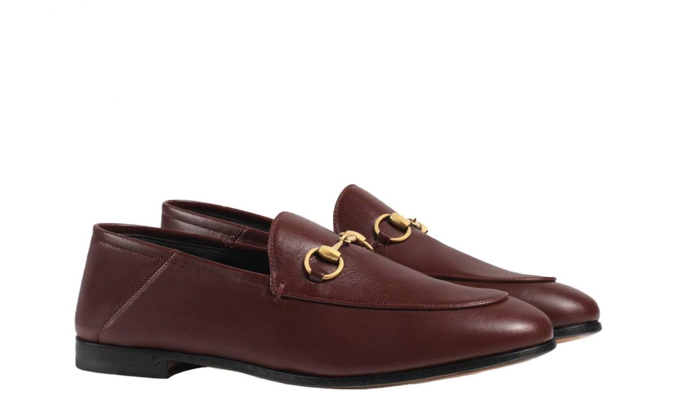 Chaussure de luxe Gucci Mocassin Brixton en cuir bordeaux avec mors