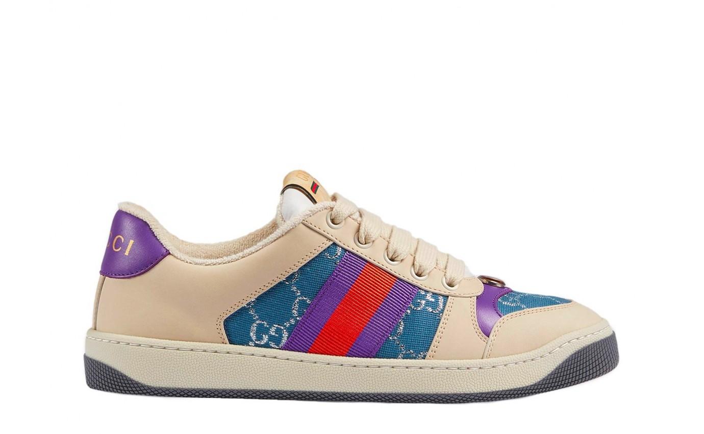 Chaussure de luxe GUCCI Basket Screener en toile GG bleu et cuir ivoire femme