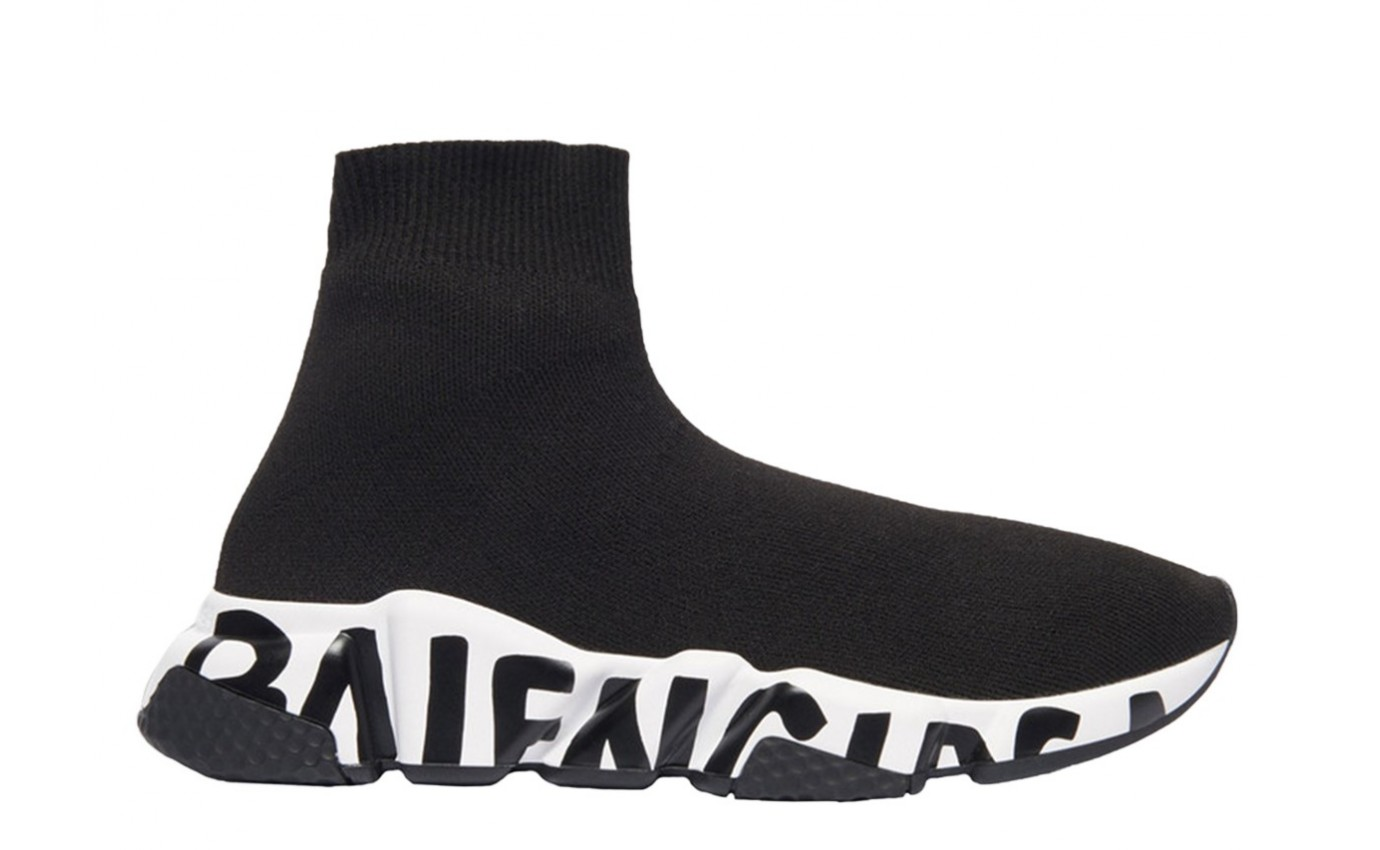 Basket BALENCIAGA SPEED GRAFFITI Haute noir Semelle