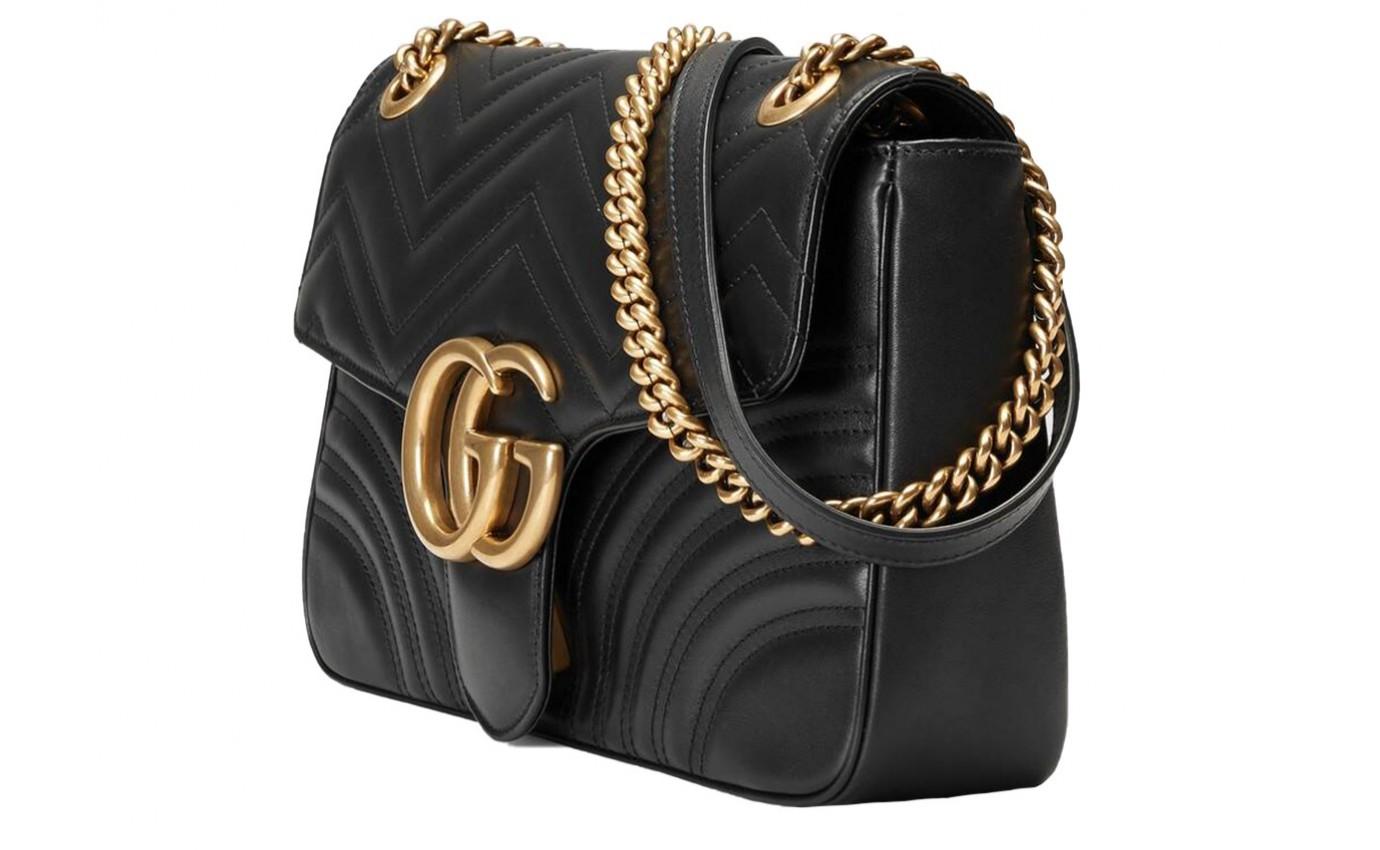 Boutique Parenthese Sac Gucci GG Marmont Médium en cuir noir