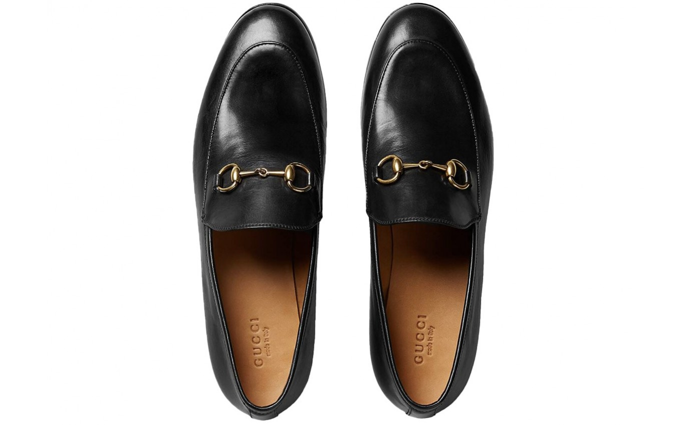 Boutique parenthese Gucci chaussure de luxe Mocassin Jordaan en cuir noir