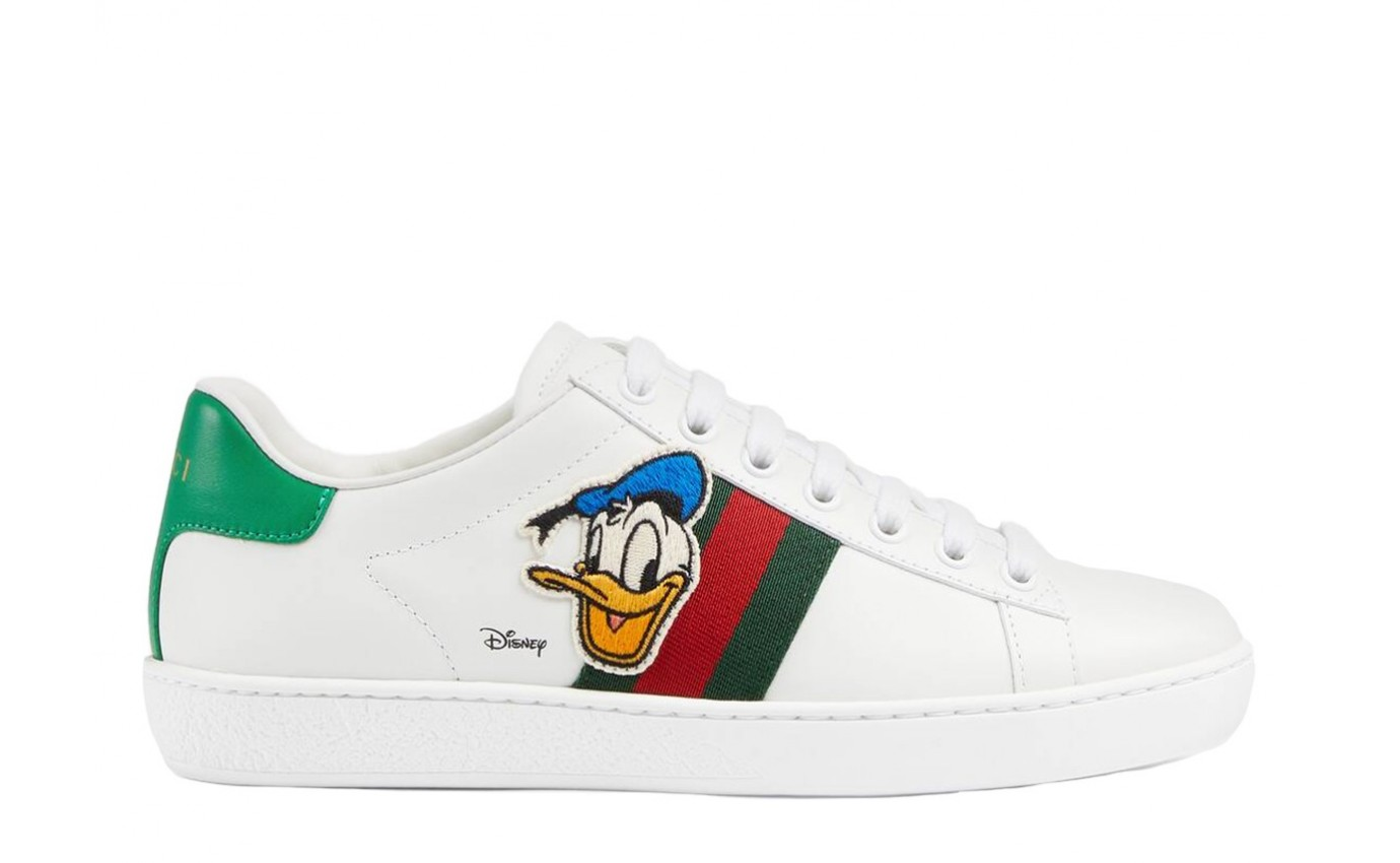 Chaussures Disney x GUCCI ACE Donald cuir blanc