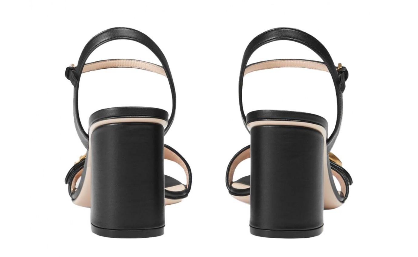 Boutique Parenthese Chaussure de luxe Gucci GG Marmont sandale en cuir noir