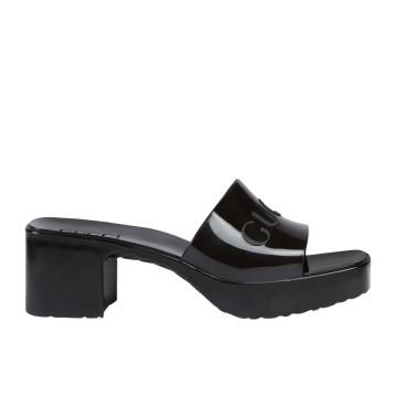 Boutique Parenthese Gucci Chaussure de luxe mule en caoutchouc noir