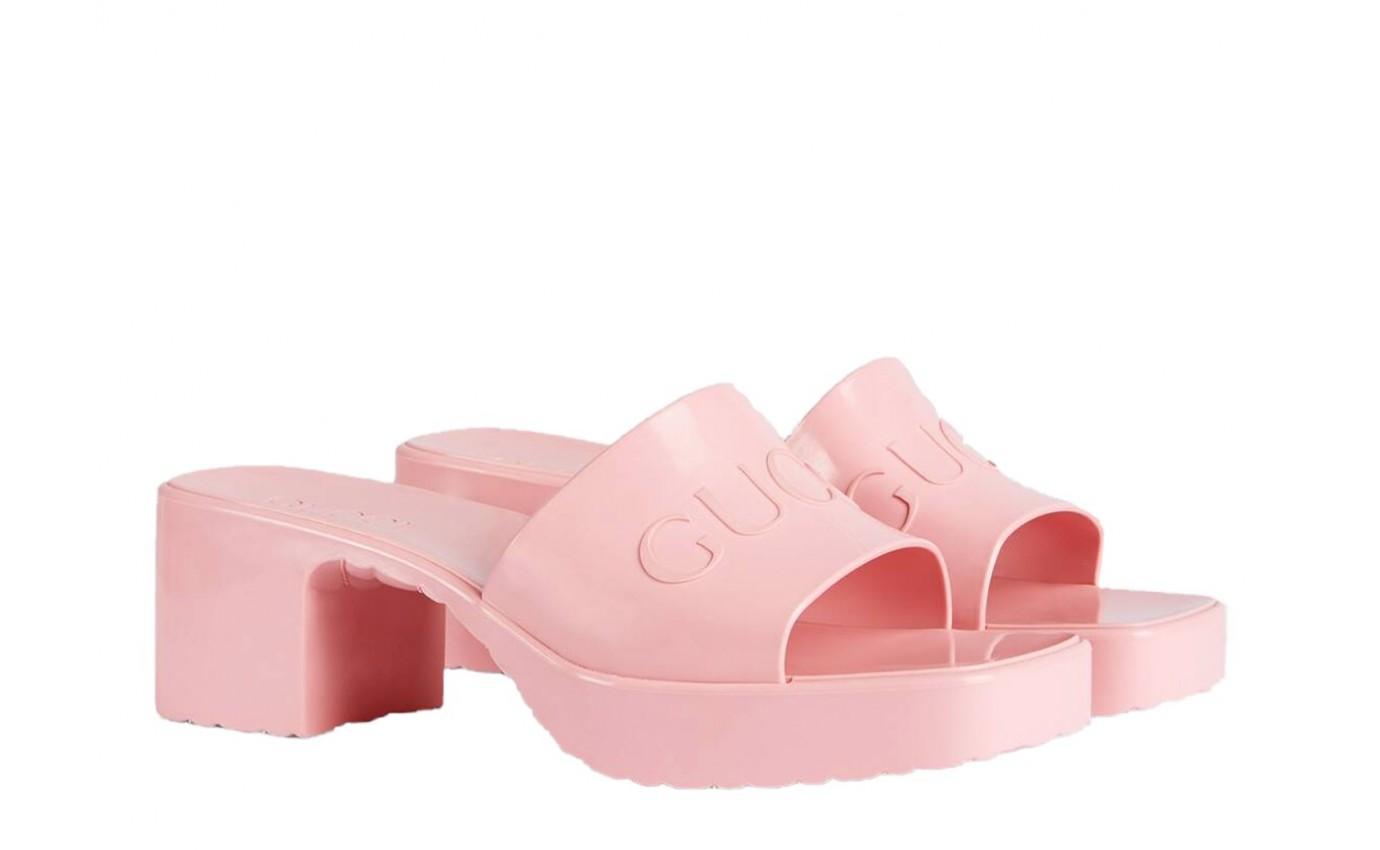 Boutique Parenthese Gucci chaussure de luxe Mule en caoutchouc rose