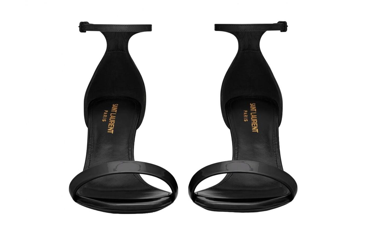 Boutique Parenthese Bordeaux sandale luxe femme Saint Laurent Amber à talon noir verni