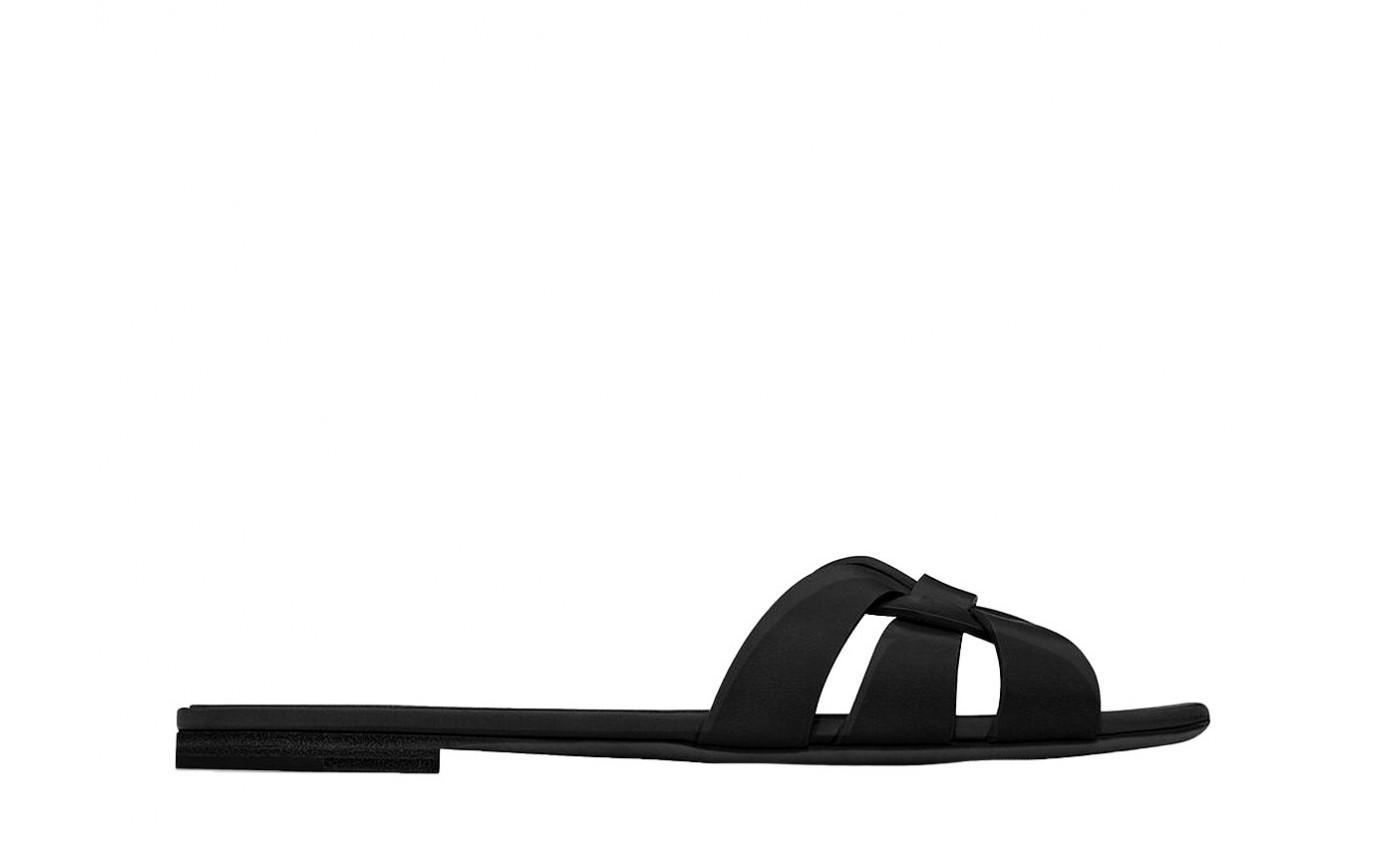 Sandale SAINT LAURENT TRIBUTE en cuir noir