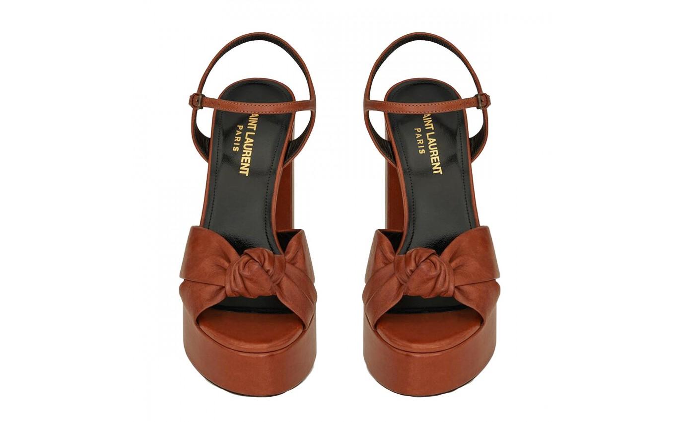 Sandale Bianca SAINT LAURENT à plateforme et talon épais cuir camel