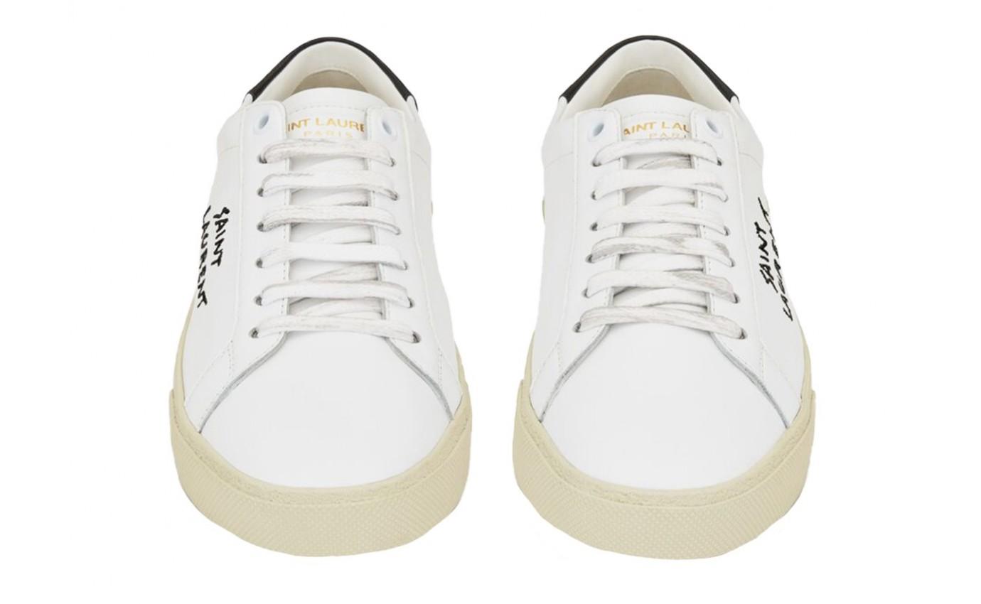 Boutique Parenthese Sain Laurent Court Classic en cuir blanc et noir