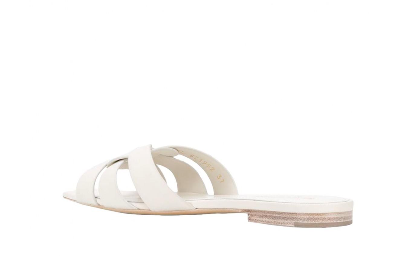 Sandale SAINT LAURENT TRIBUTE en cuir ivoire