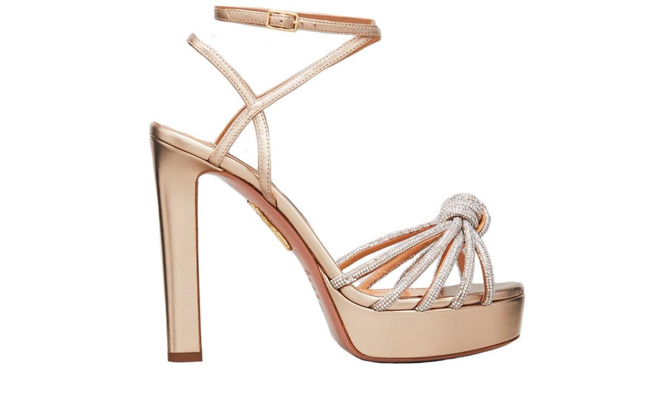 Chaussure de luxe pour femme Aquazzura Sandale Celeste en cuir métallisé or rose avec cristaux