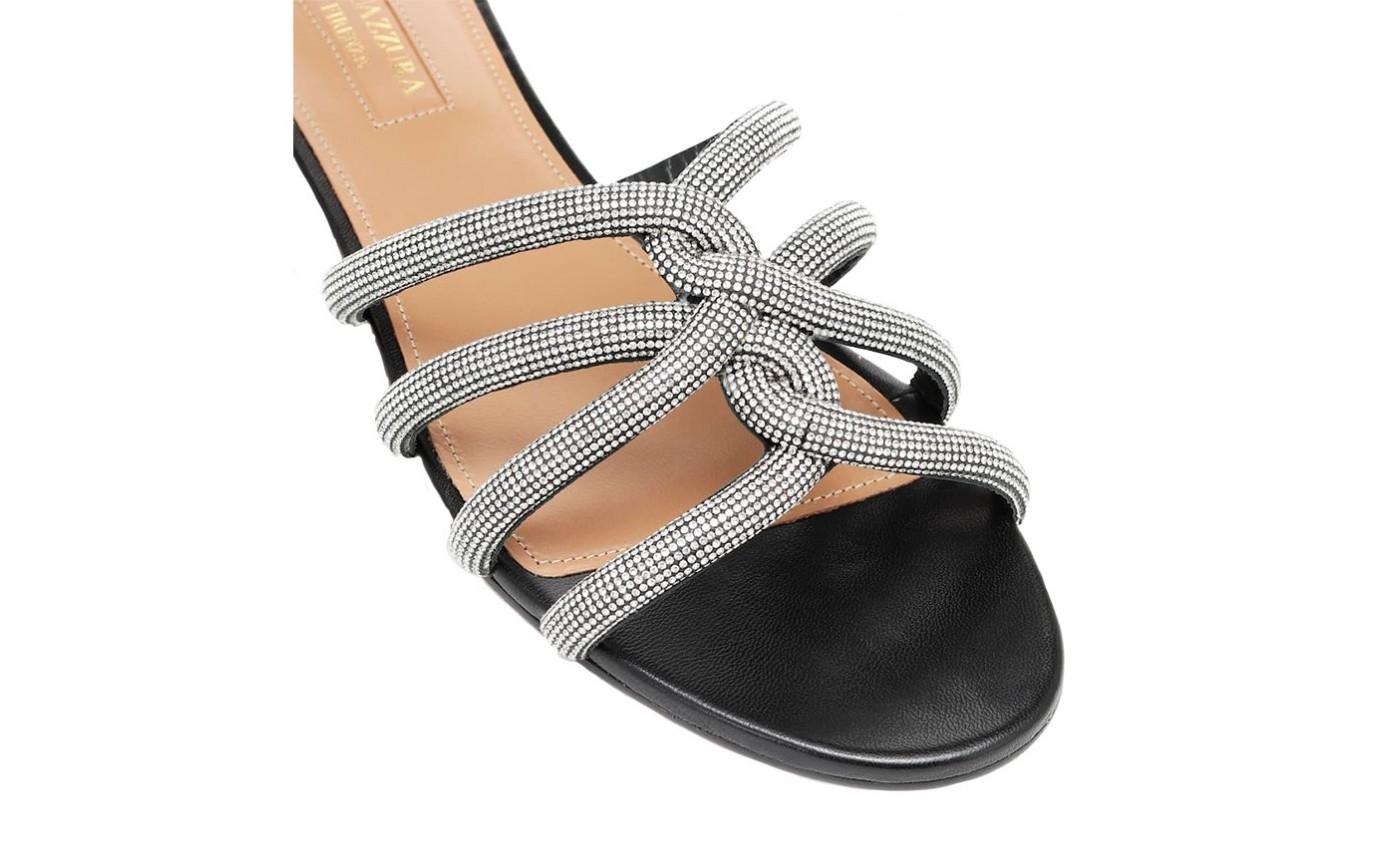 Chaussure de luxe femme AQUAZZURA Mule Moondust en cuir noir et cristaux