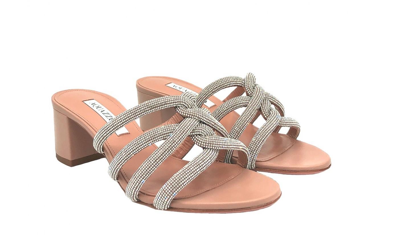Chaussure de luxe pour femme Aquazzura Mule Moondust à talon nude avec cristaux