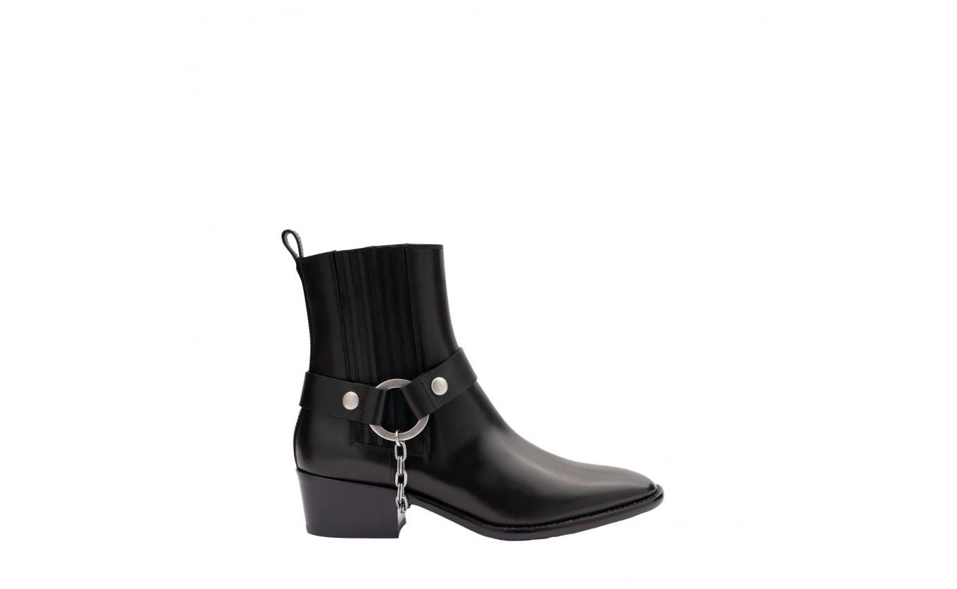 Sartore  Elastique Boots en cuir noir et harnais métal