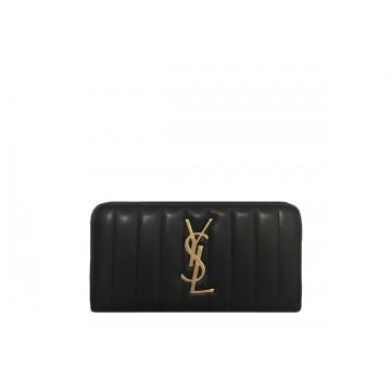 Portefeuille SAINT LAURENT MONOGRAMME cuir noir Logo YSL